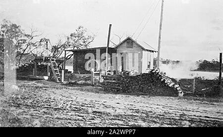 Negative - See, Victoria, circa 1920, die Pumpstation und Hof am See - Stockfoto