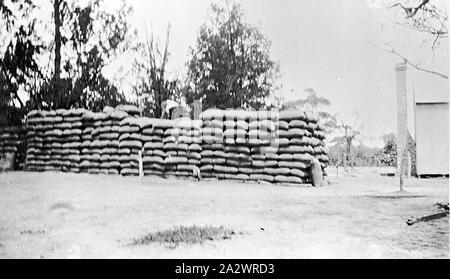 Negative - See, Victoria, 1929, Korn Stapel auf einem Bauernhof - Stockfoto