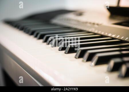 Piano, Keyboard Tasten über die Klaviertasten Schuß Stockfoto