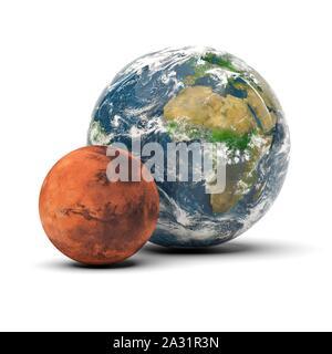 Mars und Erde echte Größe Vergleich - Stockfoto