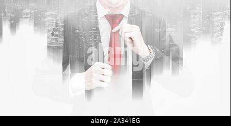 Double Exposure, Business Leader halten roten Krawatte - Stockfoto