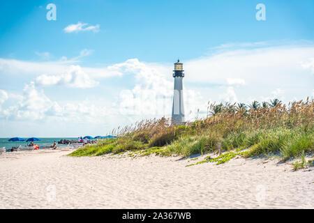 Miami, USA - 11. September 2019: Cape Florida Lighthouse, Key Biscayne, Miami, Florida, USA - Stockfoto