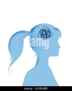 Konzeptionelle Frau mit ihrem Kopf mit Verwirrung gefüllt - Stockfoto