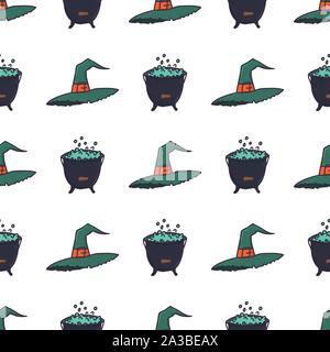 Grüne Hexe Hut und Kessel nahtlose Muster auf weißem Hintergrund. Spooky Halloween wallpaper. Herbst Urlaub Horror Kulisse. Magic Cauldron. Vector Illustration. - Stockfoto