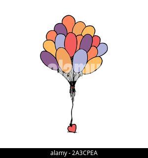 Bündel Luftballons zusammen mit Herz gebunden. Bunte Umrisse auf weißem Hintergrund. Bild kann in Grußkarten, Poster, Flyer, Banner, Logo verwendet werden, die weitere Gestaltung etc. Vector Illustration. EPS 10. - Stockfoto