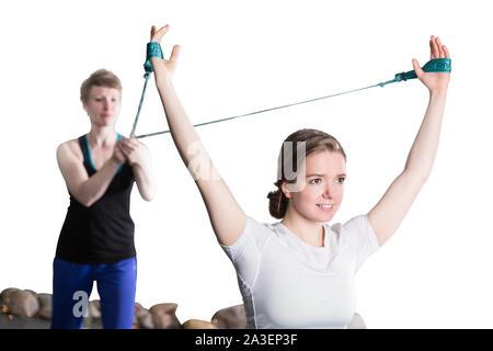 Personal trainer Coaching eine Frau client - Stockfoto