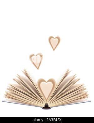 Buchen Sie mit geöffneten Seiten in Form von Herzen, mit extra Herz Seiten, auf weißem Hintergrund. Bibliophilia. - Stockfoto