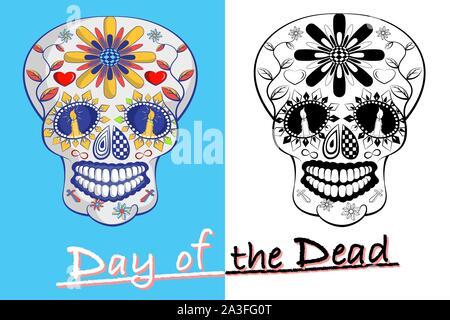 Tag der Toten mexikanischen Sugar Skull auf blauem und weißem Hintergrund. - Stockfoto