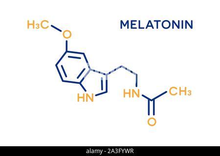 Melatonin Hormon molekulare Formel. Menschliche Körper Hormone Symbol - Stockfoto