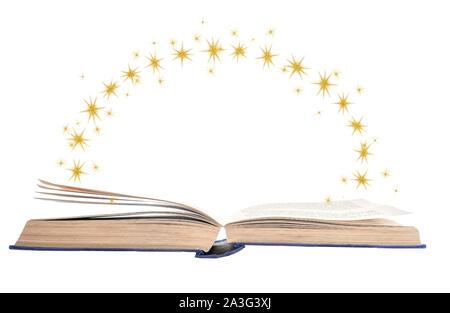 Buchen Sie mit geöffneten Seiten und Sterne für Phantasie isoliert auf Weiss. - Stockfoto