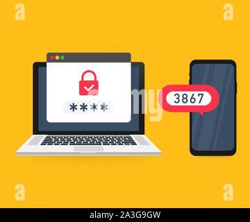 Zweistufige Authentifizierung Vector Illustration, cartoon Smartphone und Computer Sicherheit Login oder Anmelden. Vector lieferbar Abbildung. - Stockfoto