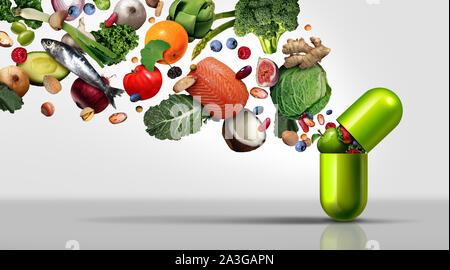 Nahrungsergänzungsmittel und Vitaminpräparate als Kapsel mit Obst Gemüse Nüsse und Bohnen in einem Nährstoff Pille als natürliche Medizin Gesundheit. - Stockfoto