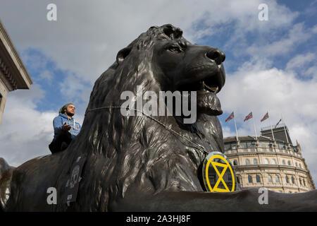 Umweltaktivisten protestieren über den Klimawandel während einer Besetzung des Trafalgar Square in London, am zweiten Tag der zwei Wochen anhaltenden weltweiten Protest von Mitgliedern des Aussterbens Rebellion, am 8. Oktober 2019, in London, England. - Stockfoto
