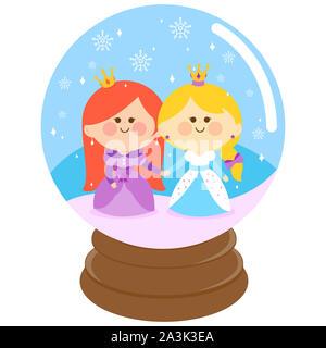 Abbildung von zwei schöne Prinzessinnen, Hände halten in einer Schneekugel. - Stockfoto