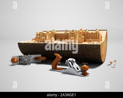 Konzept erstellen von ihrem Palast in Holzterrasse mit hand Flugzeug 3D-Render auf grauem Hintergrund mit Schatten - Stockfoto