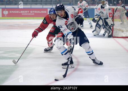 08.10.2019, xemx, Eishockey Champions Hockey League, Augsburger Panther - Bili Tygri Liberec emspor, v.l. Jakob Mayenschein (Augsburger Panther #41) - Stockfoto