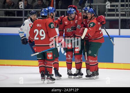08.10.2019, xemx, Eishockey Champions Hockey League, Augsburger Panther - Bili Tygri Liberec emspor, v.l. Scott Valentine (Augsburger Panther #22) ce - Stockfoto