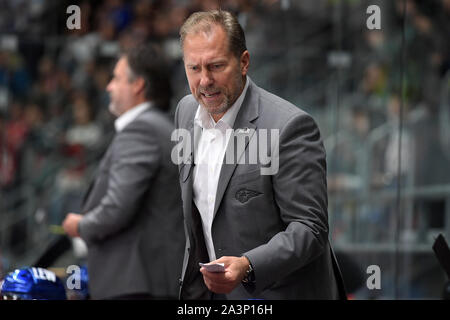 08.10.2019, xemx, Eishockey Champions Hockey League, Augsburger Panther - Bili Tygri Liberec emspor, v.l. Cheftrainer Tray Tuomie (Augsburger Panther - Stockfoto