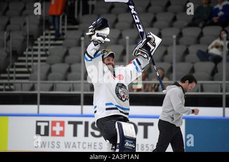 08.10.2019, xemx, Eishockey Champions Hockey League, Augsburger Panther - Bili Tygri Liberec emspor, v.l. Schlussjubel, Mannschaft, Vorgängerbaues verspielte, feiern Ich - Stockfoto