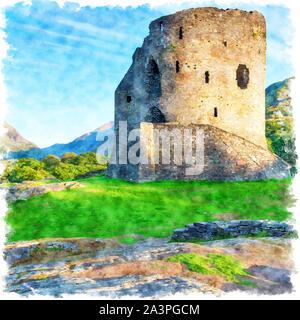 Aquarell Malerei der Ruinen der Burg von Llanberis Dolbadarn in Snowdonia National Park in Wales - Stockfoto