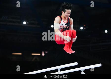Stuttgart, Deutschland. 09 Okt, 2019. Gymnastik: Wm, Team, Männer, Endgültig. Kazuma Kaya aus Japan nicht Gymnastik auf Bars. Credit: Tom Weller/dpa/Alamy leben Nachrichten - Stockfoto
