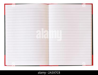 Notebook mit leere weiße Seiten und blauen Linien öffnen. Auf weissem Hintergrund. Hintergrundbild. - Stockfoto