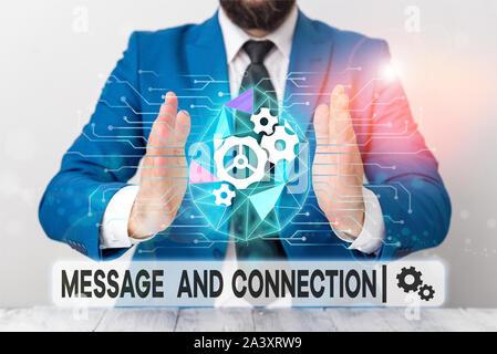 Text Zeichen angezeigt Meldung und Verbindung. Business Foto präsentiert ein Wort oder einen Brief an jemanden geschickt und es war Männlichen menschlichen Verschleiß formale Arbeit s empfangen - Stockfoto