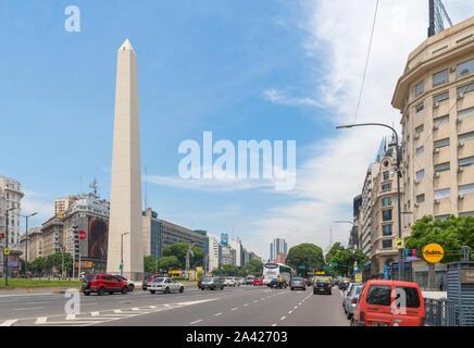 Obelisco (Obelisk), Plaza de la Republica, der Avenida 9 de Julio, Buenos Aires, Argentinien - Stockfoto