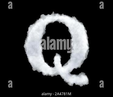 3D-Rendering von einem Brief-Q-geformte Wolke auf schwarzem Hintergrund isoliert. Lateinische Alphabet. Schreiben Systeme. Titel und Schlagzeilen. - Stockfoto