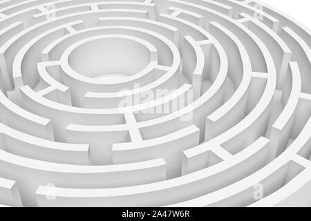 3D-Rendering des Weiße runde Labyrinth Umbau angenähert. 3D-Render. Konzept Design. Abstrakte Kunst - Stockfoto