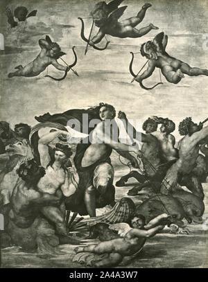 Der Triumph der Galatea, Fresko von italienischen Malers Raphael, Palazzo della Farnesina, Rom, Italien 1930 - Stockfoto
