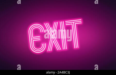 Leuchtende neon rosa Buchstaben Ausfahrt auf dunklem lila Hintergrund - Stockfoto