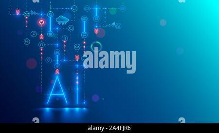 Künstliche Intelligenz Technologie konzeptionelle Banner. AI neon Buchstaben in dunklen Hintergrund links mit Icons. Technische Daten der Analyse. Maschinelles Lernen von - Stockfoto