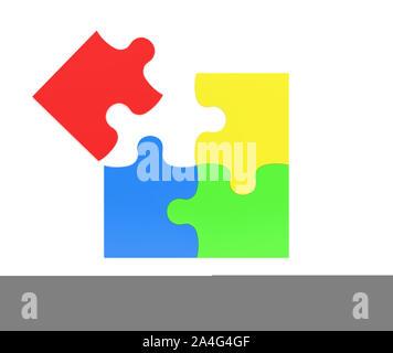 3D-Rendering von vier bunte Puzzleteile auf weißem Hintergrund. Die Verschraubung in. Einheit. Jigsaw. - Stockfoto