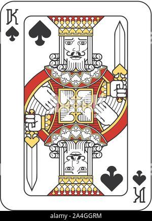 Spielkarte Pik König Rot, Gelb und Schwarz - Stockfoto