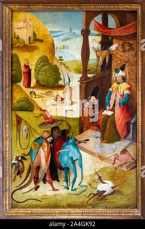 'Saint James und der Zauberer Hermogenes' von Hieronymus Bosch (C. 1453-1516), oder sein Nachfolger. Museum der Bildenden Künste in Valenciennes, Frankreich. - Stockfoto
