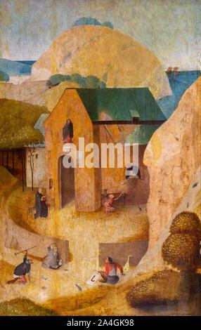 """""""Ein Kloster des Heiligen Antonius"""" von Hieronymus Bosch (C. 1453-1516), oder sein Nachfolger. Museum der Bildenden Künste in Valenciennes, Frankreich. - Stockfoto"""