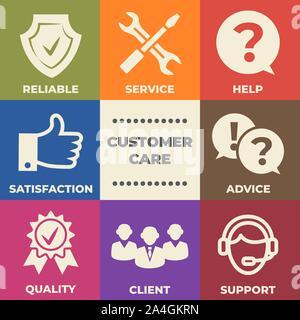 CUSTOMER CARE Concept mit Symbolen und Zeichen - Stockfoto