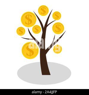 Das Finanzkonzept. Geld Baum - Symbol des erfolgreichen Unternehmens. Vector Illustration - Stockfoto