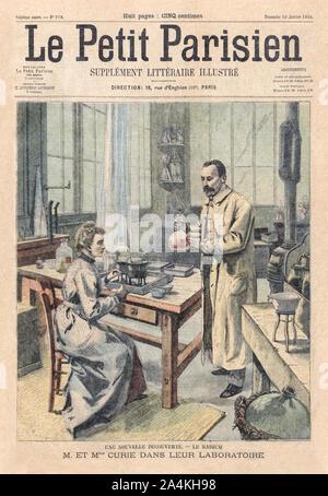 Marie Curie (1867-1934) und Pierre Curie (1859-1906) führen ein Experiment auf der Abdeckung des Le Petit Parisien Illustrierte literary supplement vom 10. Januar 1904 zu Ehren ihres gemeinsamen Gewinn der Nobelpreis für ihre bahnbrechende Forschung auf Radioaktivität kurz vor 1903. Marie Curie war die erste Frau, die einen Nobelpreis verliehen werden. - Stockfoto