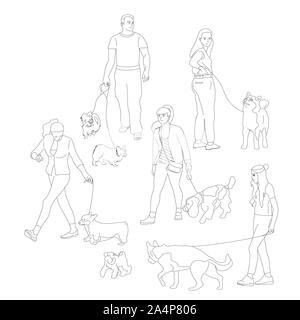 Satz Leute gehen mit ihren Hunden an der Leine. Bündel von Mann und Frauen mit Haustieren. Auf weissem Hintergrund. Flat Style cartoon Vektor - Stockfoto