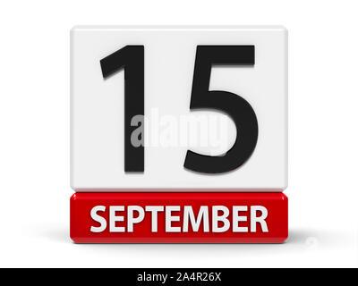 Rote und weiße Symbol Kalender von Würfel - Der 15. September - auf einem weißen Tisch - Internationaler Tag der Demokratie, Tag der Unabhängigkeit in der zentralen A - Stockfoto