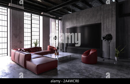 Großes Wohnzimmer in einem umgebauten industrielle Loft mit hohen Fenstern vom Boden zur Decke, komfortablen roten Ledersitzgruppe und Topfpflanzen in schattigen - Stockfoto