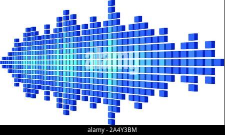 Perspektive blue sound Wellenform aus Würfel - Stockfoto
