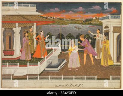 Ein Bewerber mit verbundenen Augen ist, bevor eine Prinzessin, 1755 gebracht. In einer Szene auf einem Teppichboden Terrasse im Frauen ' s Palast Viertel, eine ältere Frau aus dem Harem zieht ein junger Prinz mit einer weißen Binde über die Augen vor einer Prinzessin greifen in ein Dokument. Eine solche Szene erinnert an eine literarische Anspielung auf eine Prinzessin, die ihrem Bewerber wählt, aber es schwingt auch mit Umständen, die im Mughal Gericht. Vom Künstler signiert und datiert, dieses Bild wurde in einer Zeit, in der mächtige Frauen ausgeübten Kontrolle über den Kaiser abgeschlossen, und Ahmad Schah regierte Bahadur (1748-54), Sohn und Nachfolger von Muhammad Shah, - Stockfoto