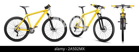 Set Sammlung von Gelb Schwarz 29er Mountainbike mit dicken Offroad Reifen. Fahrrad mtb cross country Aluminium, Radfahren sport Verkehr Konzept isolieren - Stockfoto