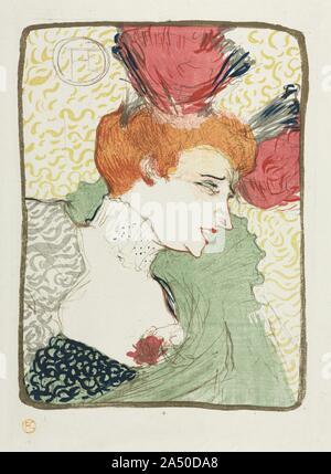 Büste von Mademoiselle Kreditgeber, 1895. Toulouse-Lautrec mehrere Porträts der Schauspielerin Marcelle Lender auf dem Höhepunkt ihrer Karriere im Jahr 1895, als sie in der Operette Chilp gekennzeichnet wurdeéRic -- Libretto und Musik von Hervé -- An der Th durchgeführtéâ tre des Variétés in Paris. Der Künstler nahm an der Produktion auf mehr als 20 Gelegenheiten, gerade rechtzeitig, um zu sehen, der letzte Bolero in der Kreditgeber 's vielschichtige Röcke eine Explosion der hellen Rosa und grün Tüll geschaffen, wie sie tanzte. Mit dem fuchsia Blumen und grünen Umhang, Toulouse-Lautrec evozierten die Leistung - Stockfoto