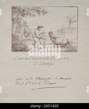 Heilige Familie auf der Flucht nach Ägypten, 1809. Die Lithographie wurde 1798 in Deutschland von Alois Senefelder (1771-1834), deren Bemühungen um eine preiswerte Methode der Text seiner Stücke zu reproduzieren finden Sie versehentlich führte zu einer neuen und revolutionären Drucken entdeckt. Obwohl Lithographien fast sofort in Deutschland und in England produziert wurden, die Künstler von Frankreich waren die ersten, die die ästhetischen Möglichkeiten dieser flexiblen, reaktionsschnellen und persönliche Mittel zu schätzen. Im Jahr 1806, einer der Generäle Napoleons, Baron Lejeune, ein laienhafter Maler, wurde durch die Technik während in München beeindruckt. Upo - Stockfoto