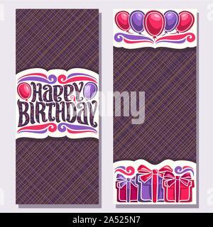 Vektor Grußkarten zum Geburtstag Urlaub, Vertikale Doppelseitige Einladungen mit bunten Geschenkboxen und Luftballons für Jubiläum Holiday, original - Stockfoto