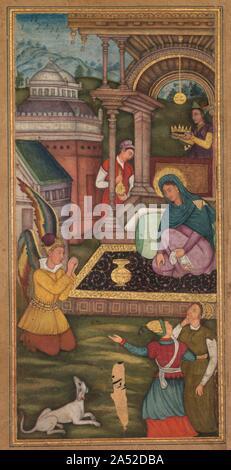 Die Verkündigung, von einem Mir ' bei al-Quds von Vater jerome Xavier (Spanisch, 1549-1617), 1602-1604. Die Verkündigung ist eine vertraute Szene in der Europäischen Renaissance und Barock Kunst, die hier von einem Maler in einem Mughal workshop interpretiert wird. Mary hatte gebetet, vor der Ankunft der Engel Gabriel. Schaut sie ihn an, als er kniet andächtig und informiert sie, dass sie den Sohn Gottes tragen. Seine Flügel, gezwungen, innerhalb der Grenze der Malerei Feld, polychromed gewesen, einen mystischen Eindruck, die ihn so identifiziert, als einer jenseitigen Wesen zu vermitteln. Die Krone statt über Mary 's Kopf